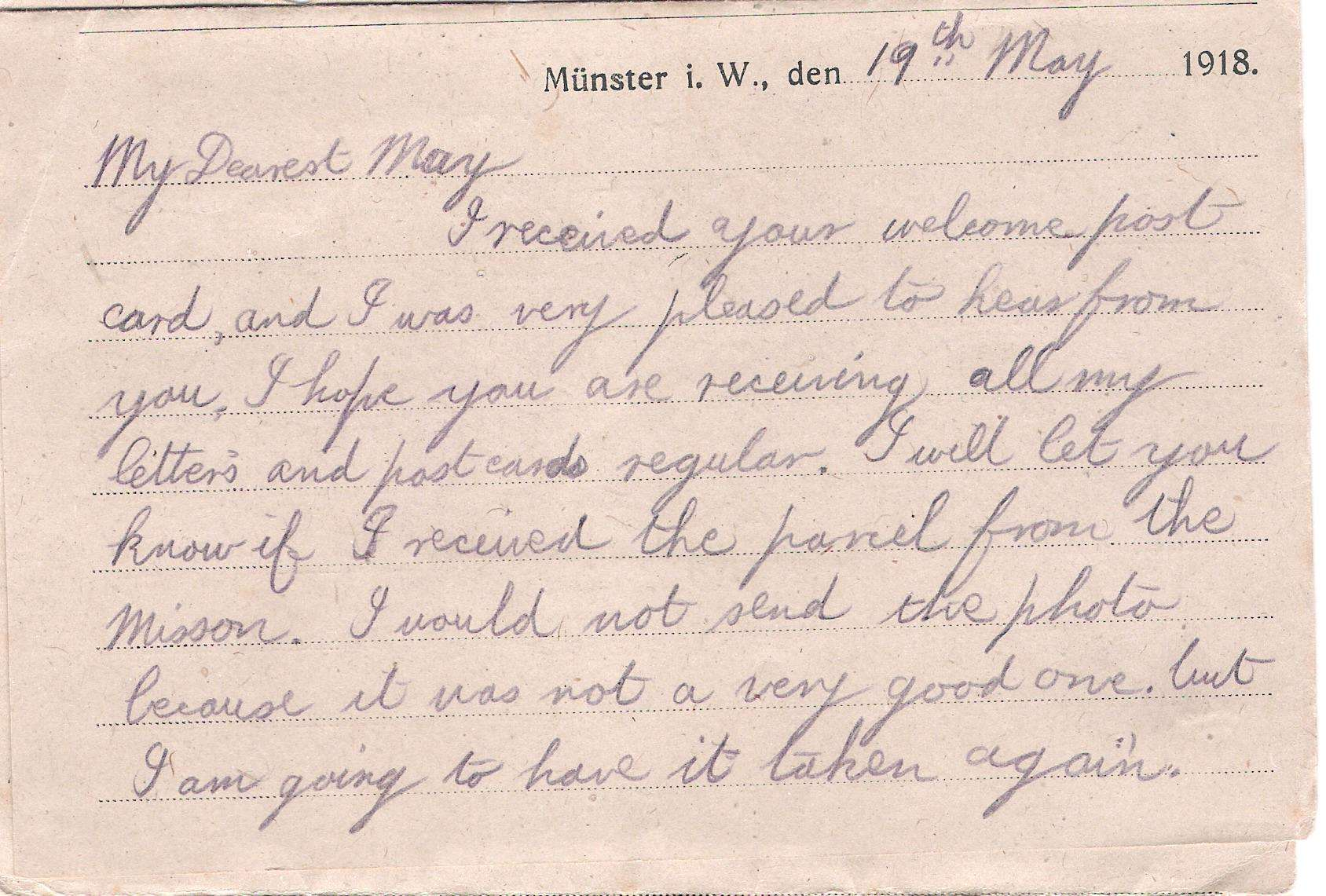 Charles William Clarke Letter 19th May 1918