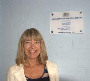 Julia Deakin with Opening Plaque