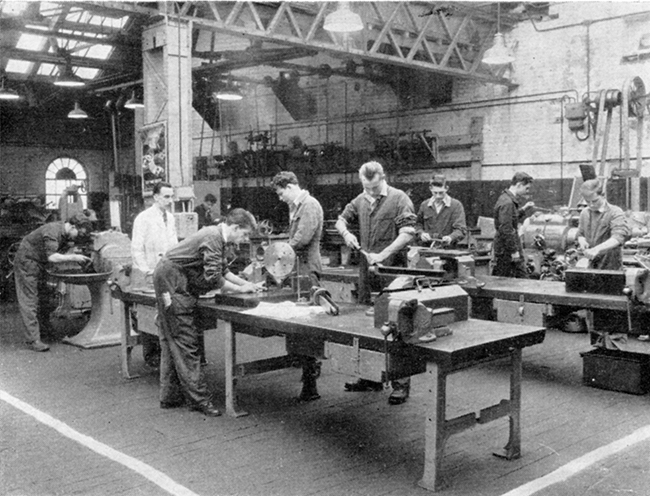 Apprentice Training Bay Mr W J Fovargue instructor 1961