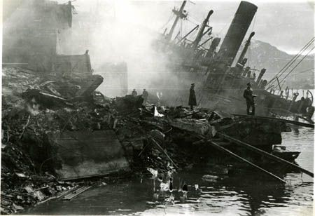 The Barenfels, almost completely submerged after the attack.
